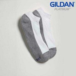 Gildan Platinum GP711 Men's No Show Socks – White/Grey (6 PAIR)
