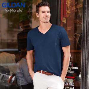 Gildan 64V00 Softstyle 成人環紡 V領 T恤 (美國尺碼)
