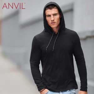 ANVIL 987 成人輕身有帽長袖 T恤 (美國尺碼)